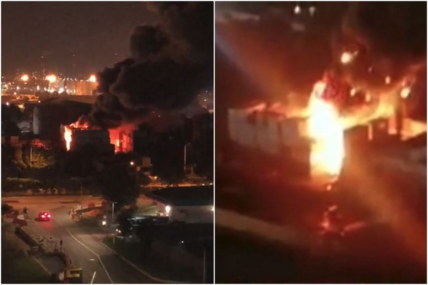 The fire involved scrap materials stored within 10 stacked containers in a scrapyard, and was extinguished by about 9.15pm using three compressed air foam jets, according to SCDF.