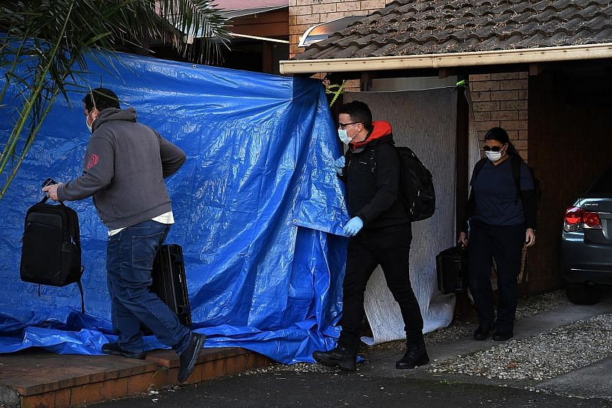 Australian police raiding a home in Sydney yesterday. Three men were arrested over an alleged ISIS-inspired plot to attack police stations, embassies and defence facilities in Sydney. Two of the arrested men, aged 20 and 23, are charged with being me