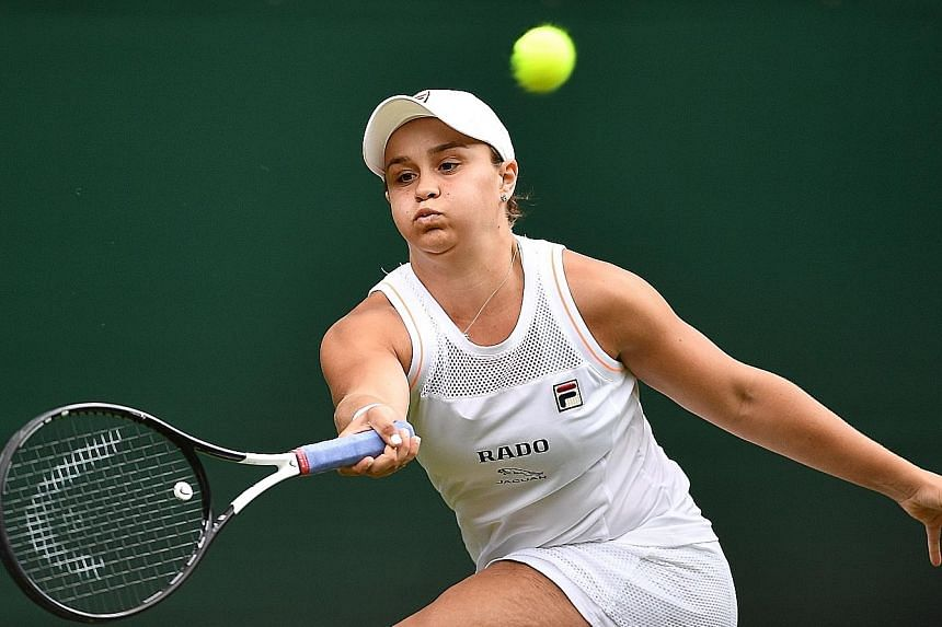 World No. 1 Ashleigh Barty, who is bidding to become the first woman since Serena Williams in 2015 to win the French Open and Wimbledon in the same year, has a tricky match against Belgian Alison van Uytvanck in the second round. PHOTO: AGENCE FRANCE