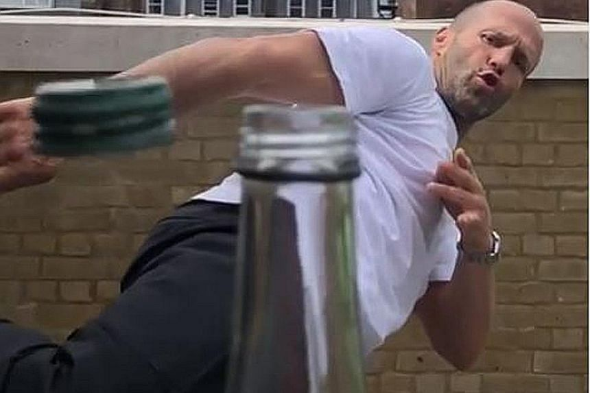 BOTTLE CAP CHALLENGE: Action movie star Jason Statham (above) does not back down from any confrontation. So when singer John Mayer issued a dare to take part in the #bottlecapchallenge, Statham, 51, accepted, posting a video online on Monday of his