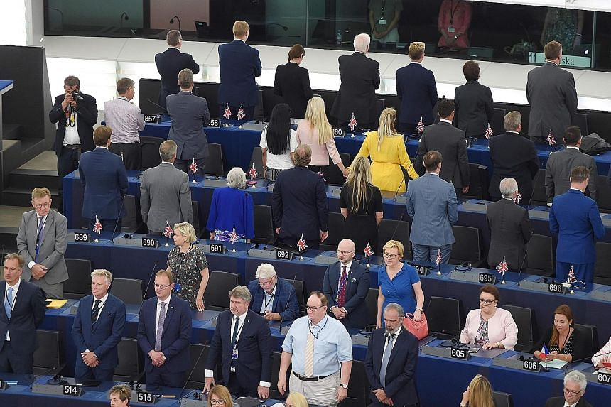 Members of Britain's Brexit Party turning their backs as the European Union anthem - Beethoven's Ode to Joy - was played live at the opening ceremony of the inaugural session of the European Parliament's new term yesterday in Strasbourg, eastern Fran