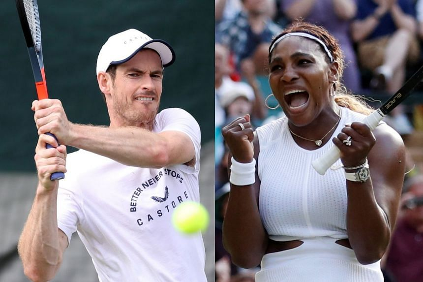 Andy Murray (keft) will team up with Serena Williams (right) to play in the mixed doubles at Wimbledon.