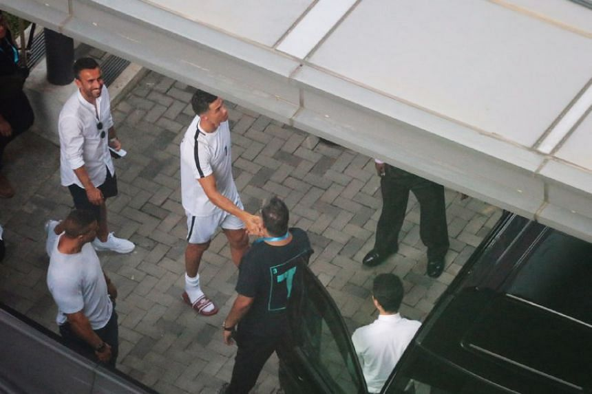 Cristiano Ronaldo leaving Our Tampines Hub on July 3, 2019.