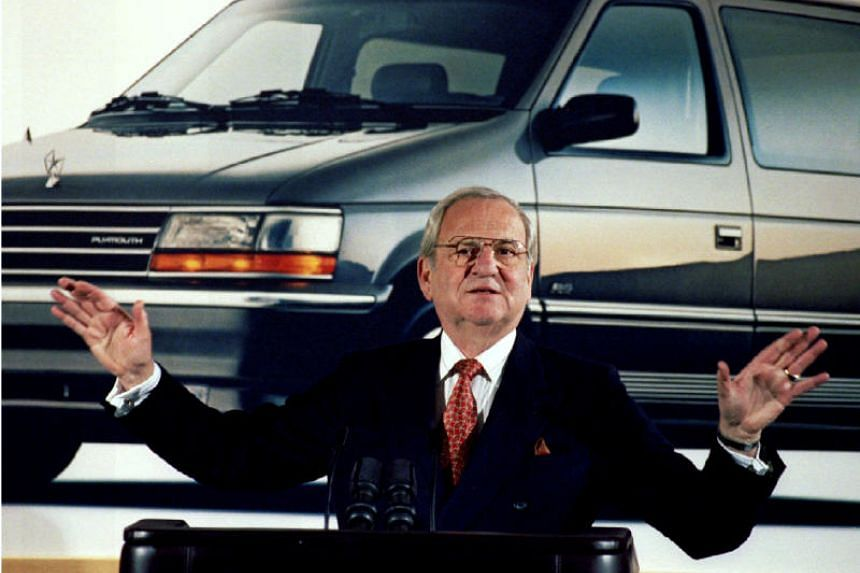 Lee Iacocca during a Chrysler briefing on earnings in February 1991.His turnaround of Chrysler Corp made him a celebrity and, to some, a national hero.