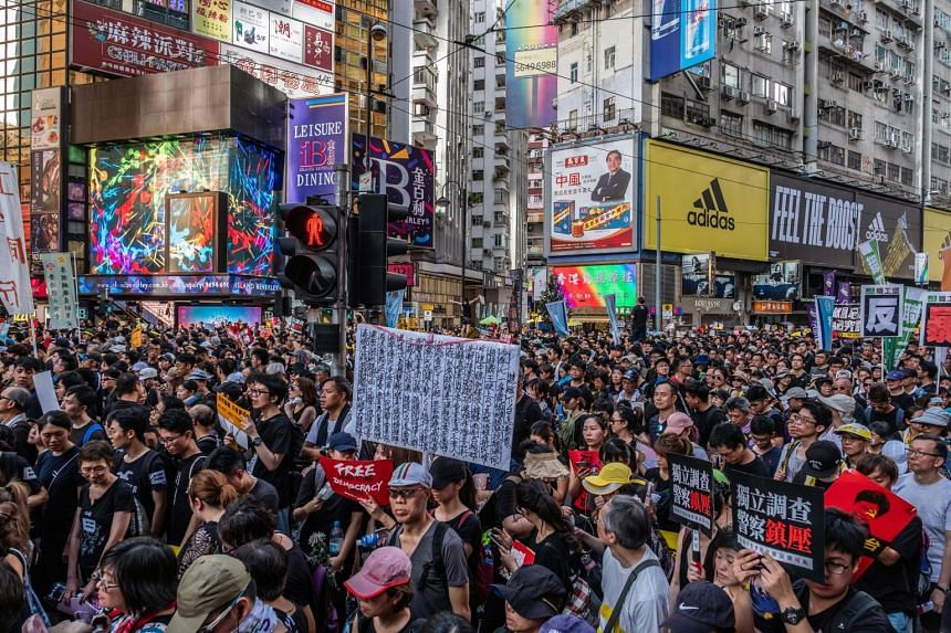 Protesters in the streets of Hong Kong, on July 1, 2019.