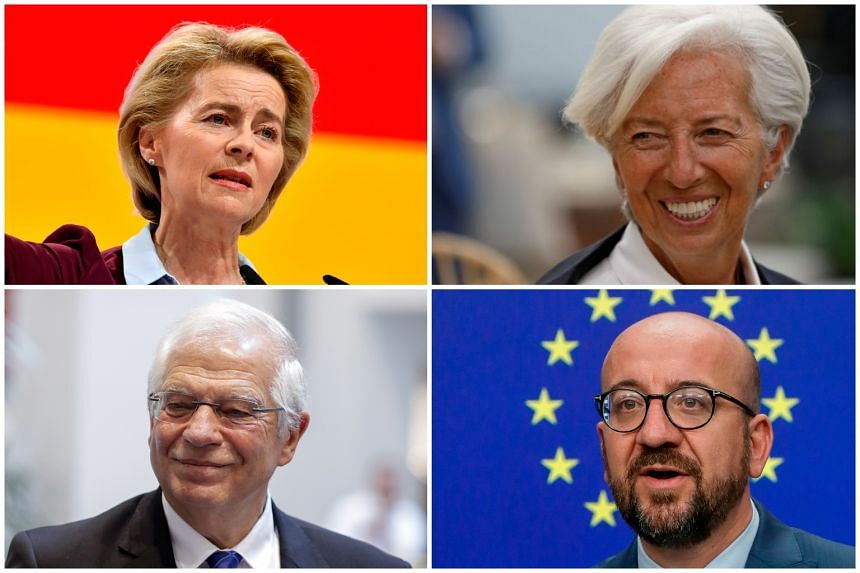 (Clockwise from top left) Germany's centre-right defence minister, Ursula von der Leyen, managing director of the IMF Christine Lagarde, acting prime minister of Belgium Charles Michel and Spain's foreign minister Josep Borrell.
