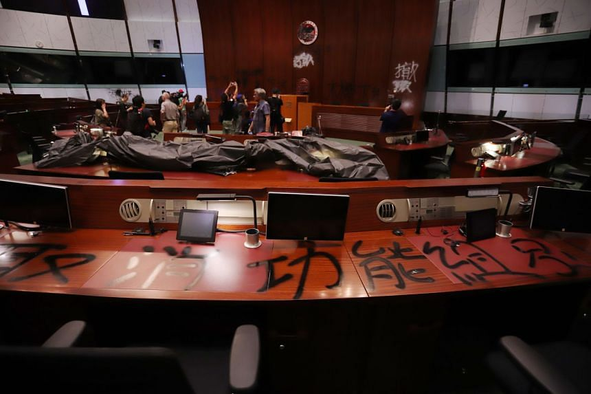 A general view of the Hong Kong chamber of the Legislative Council with the damage caused by protesters.