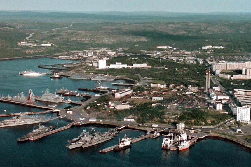 An aerial view of the Russian Navy base in Severomorsk, Russia. Defence Minister Sergei Shoigu was appointed to travel to Severomorsk to direct the probe after a submarine fire killed 14 seamen.