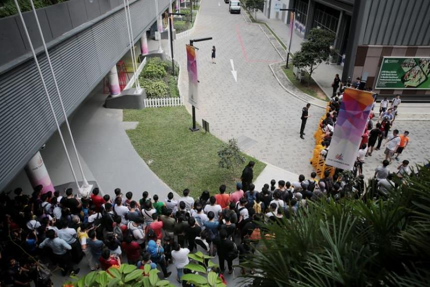 Fans waiting for Cristiano Ronaldo to arrive at Our Tampines Hub on July 3, 2019.