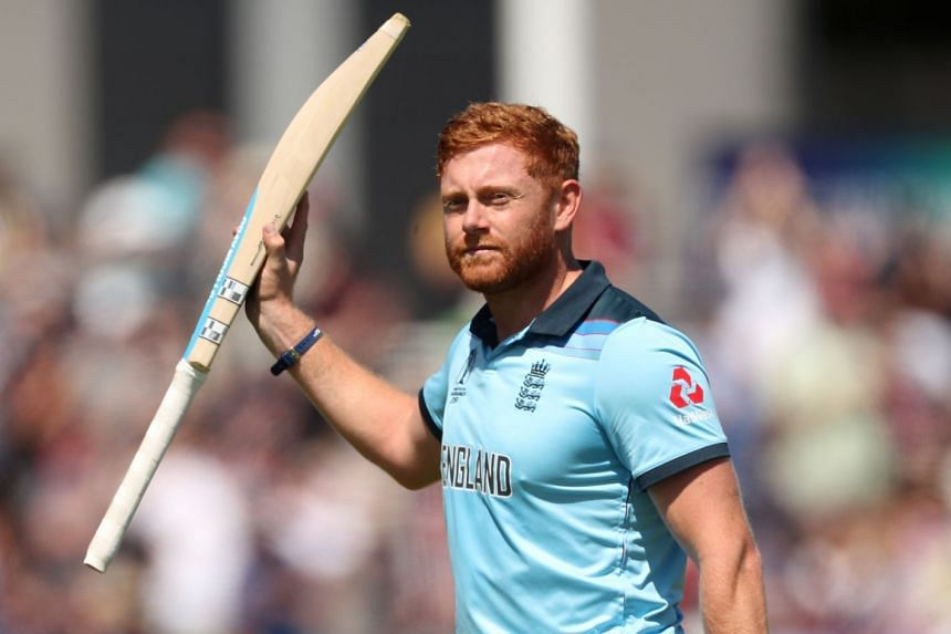 England's Jonny Bairstow gestures to the fans as he walks off after losing his wicket.