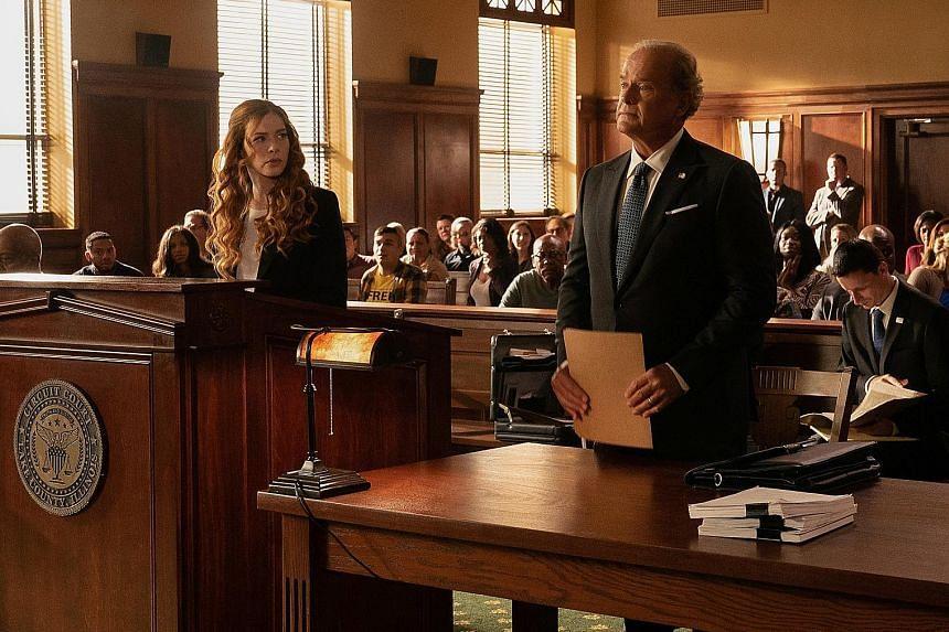 Proven Innocent stars Rachelle Lefevre and Kelsey Grammer (both above).