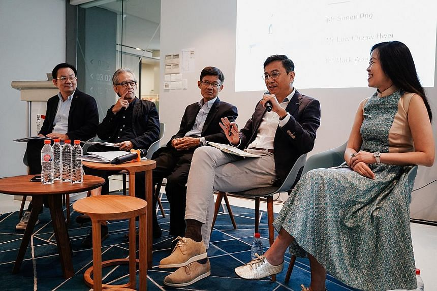 Members of the Design Education Review Committee: (from left) Mr Mark Wee, executive director of the DesignSingapore Council; Mr Simon Ong, deputy chairman of Kingsmen Creatives; Mr Tan Pheng Hock, former president and chief executive of Singapore Te