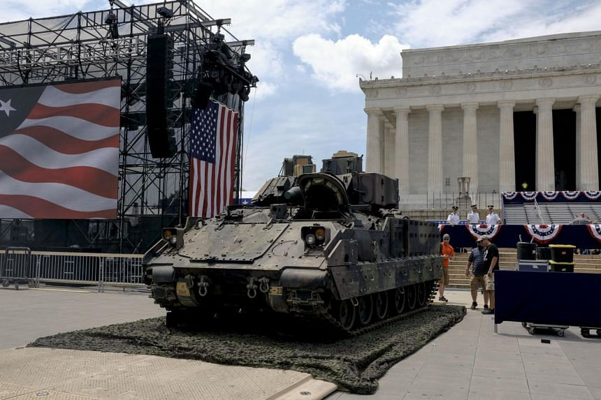 A Bradley Fighting Vehicle at the Lincoln Memorial while preparations were underway for an Independence Day celebration in Washington, on July 3, 2019.