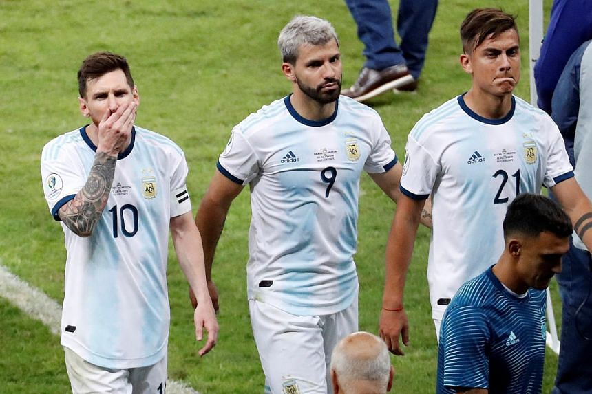 Argentinian players reacting at the end of the Copa America 2019 match against Brazil at the Mineirao Stadium in Belo Horizonte, Brazil, on July 2, 2019.