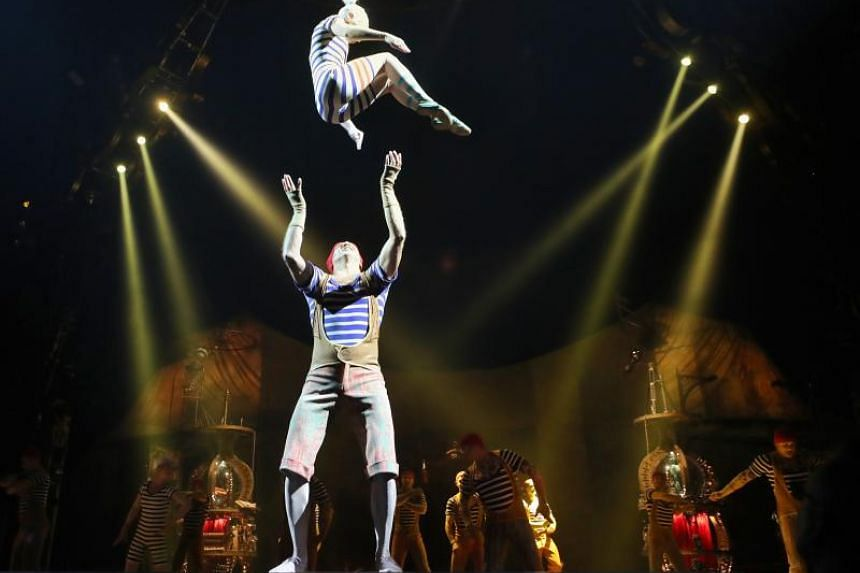 Banquine, a group of 13 artistes, performing synchronised acrobatics during the Kurios show media preview by Cirque du Soleil.
