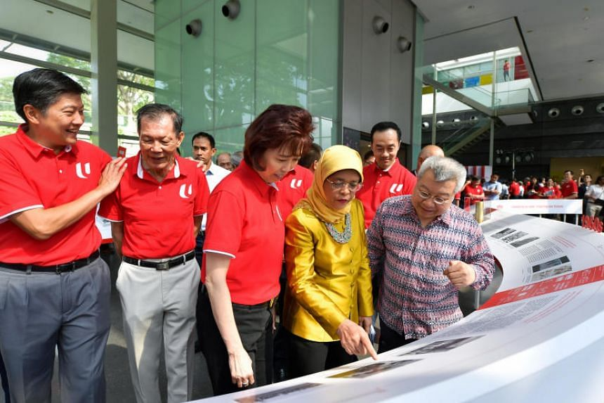(From left) NTUC secretary-general Ng Chee Meng, former union leader and former NTUC vice-president Tan Soon Yam, NTUC president Mary Liew, President Halimah Yacob, NTUC deputy secretary-general and Senior Minister of State for Trade Koh Poh Koon and