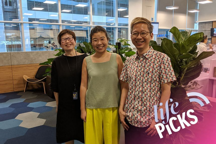 Life Picks host Melissa Sim (centre) chats with colleagues Tan Hsueh Yun (left) and Boon Chan about the best things to do in Singapore from July 4-18.