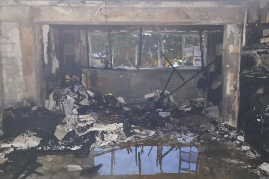 The fire in the Tampines HDB flat involved the contents of a living room.
