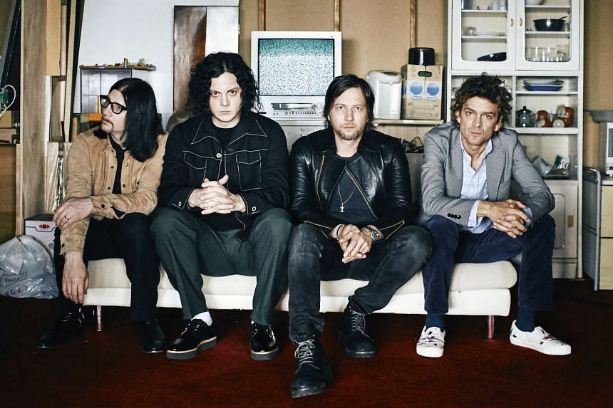 American rock band The Raconteurs comprise (from far left) Jack Lawrence, Jack White, Patrick Keeler and Brendan Benson.