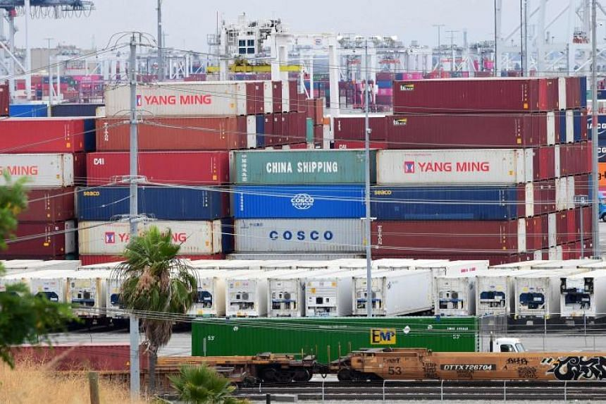 Containers at the Port of Los Angeles on June 18, 2019 in San Pedro, California, where the US-China trade war has created logistical havoc on the docks following a months-long surge of imports in anticipation of higher tariffs.