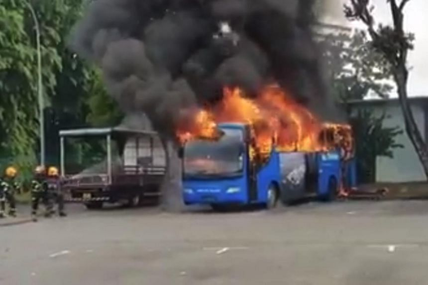 Videos posted on the Facebook group Singapore Bus Drivers Community show the bus engulfed in flames, with plumes of black smoke billowing out of the top of the bus.