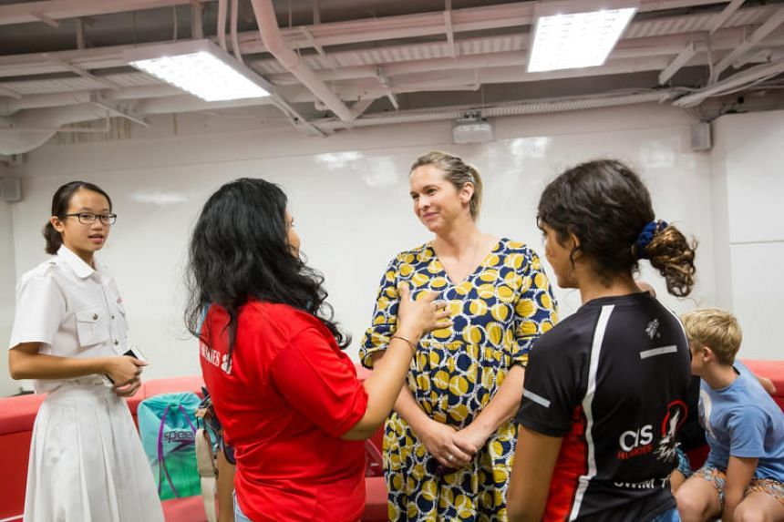Four-gold Olympic swimming champion Libby Trickett speaking to young swimmers and their parents at the National Youth Sports Institute on July 4, 2019.