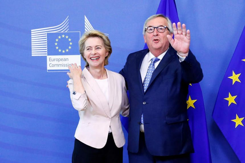 The EU's new president-elect Ursula von der Leyen with EU Commission President Jean-Claude Juncker at the EU Commission headquarters in Brussels on July 4, 2019.