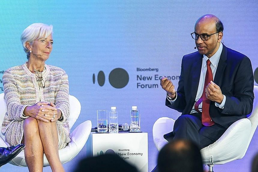 IMF managing director Christine Lagarde, who is poised to become the next president of the European Central Bank, with Singapore Senior Minister Tharman Shanmugaratnam at the Bloomberg New Economy Forum last year.