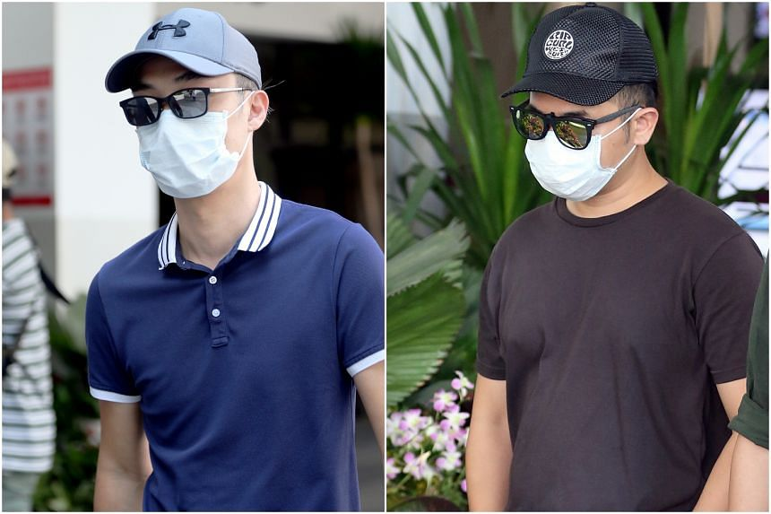 Tay Miow Seng (left), 40, and Ed Chen Junyuan, 37, were charged in court with operating a drone at an open field within 5km of Paya Lebar Air Base without a valid permit.
