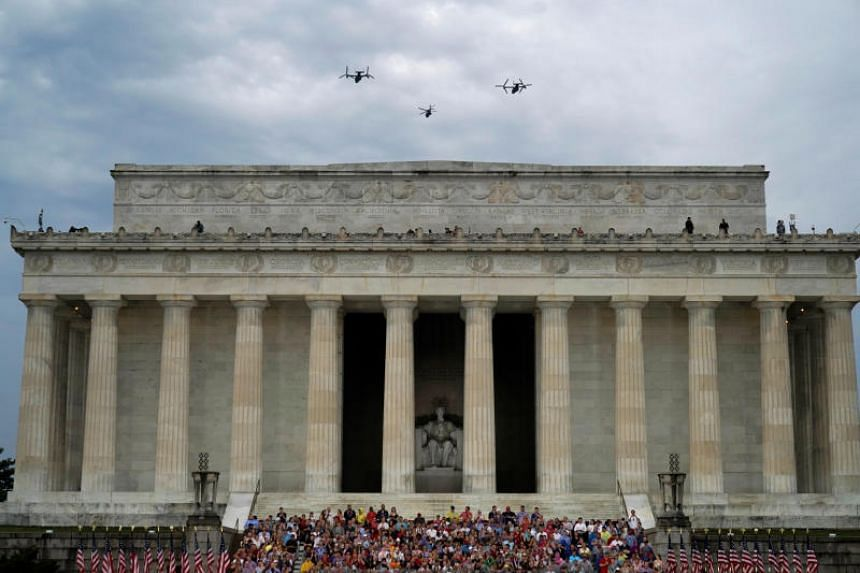 A fly pass by the US Marines at the Lincoln Memorial during Fourth of July Independence Day celebrations in Washington, on July 4, 2019.