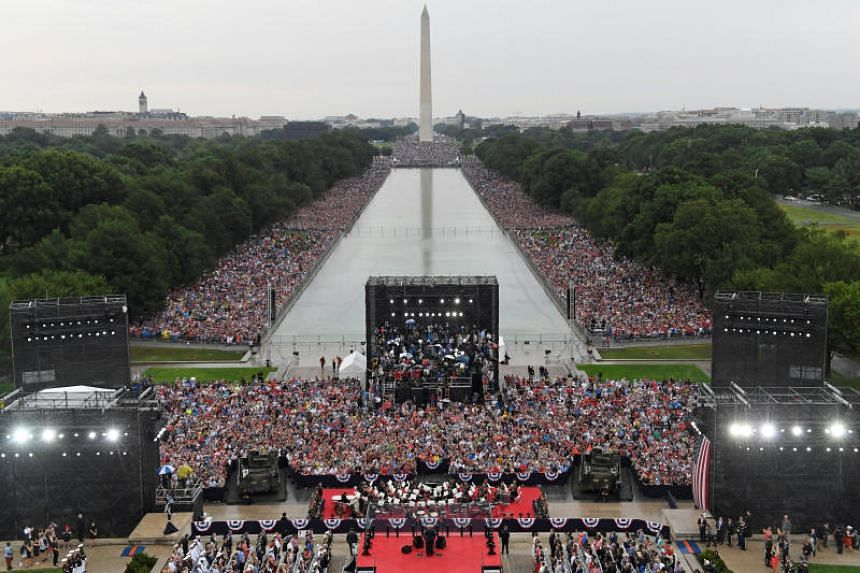US President Donald Trump speaks during an Independence Day celebration in front of the Lincoln Memorial in Washington, on July 4, 2019.