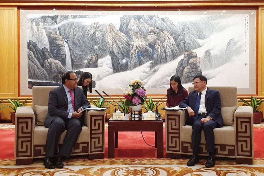 Minister for Communications and Information S. Iswaran met Party Secretary Wang Weizhong in Shenzhen on July 5, 2019.