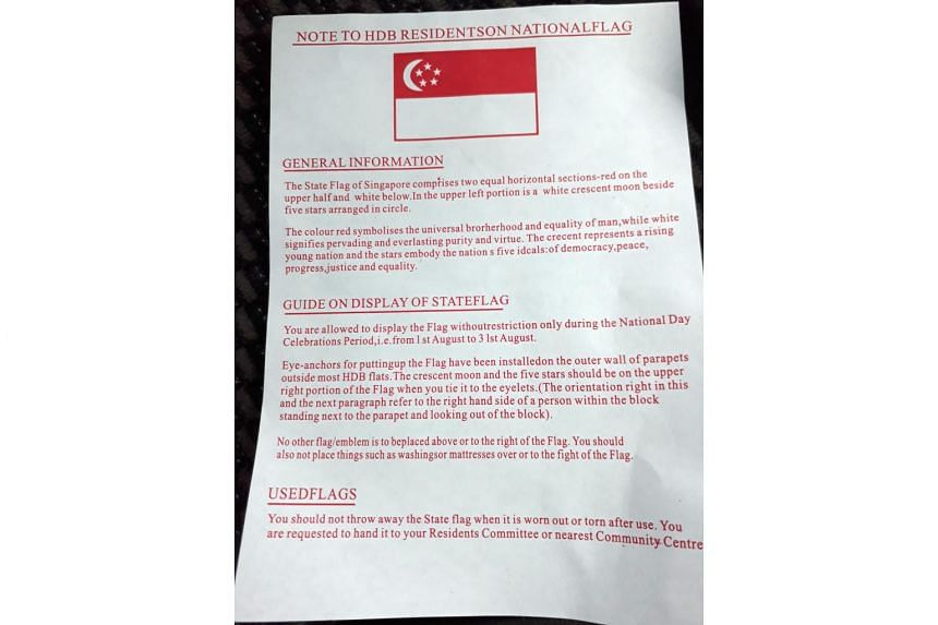 The information sheet which accompanied a flag which resident Lee Yong Se purchased from a stationery shop in Pasir Ris.