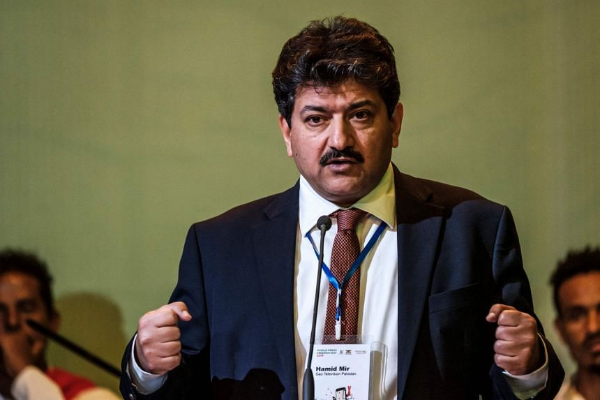 An image of TV anchor Hamid Mir (above)  was prominent among the photographs of journalists being shared.