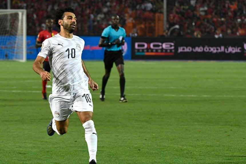 Salah in action during Egypt's Africa Cup of Nations match against Uganda.