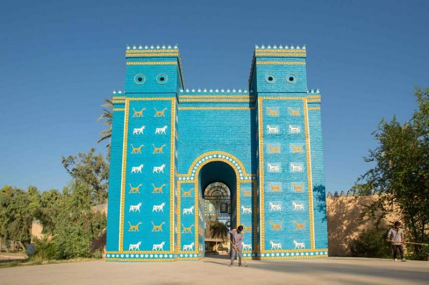 The Ishtar Gate at the ancient archaeological site of Babylon.