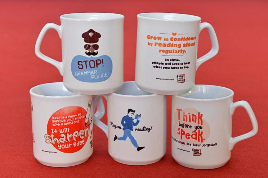 Mugs with tips on speaking good English, designed as part of the 2013 Speak Good English Movement campaign.