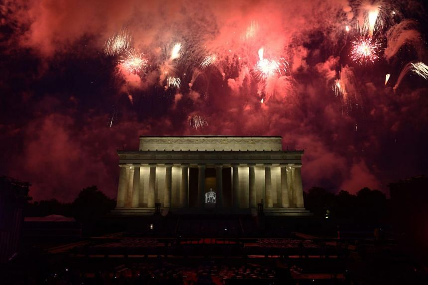 Fireworks explode over the Lincoln Memorial during the Fourth of July celebrations in Washington, on July 4, 2019.