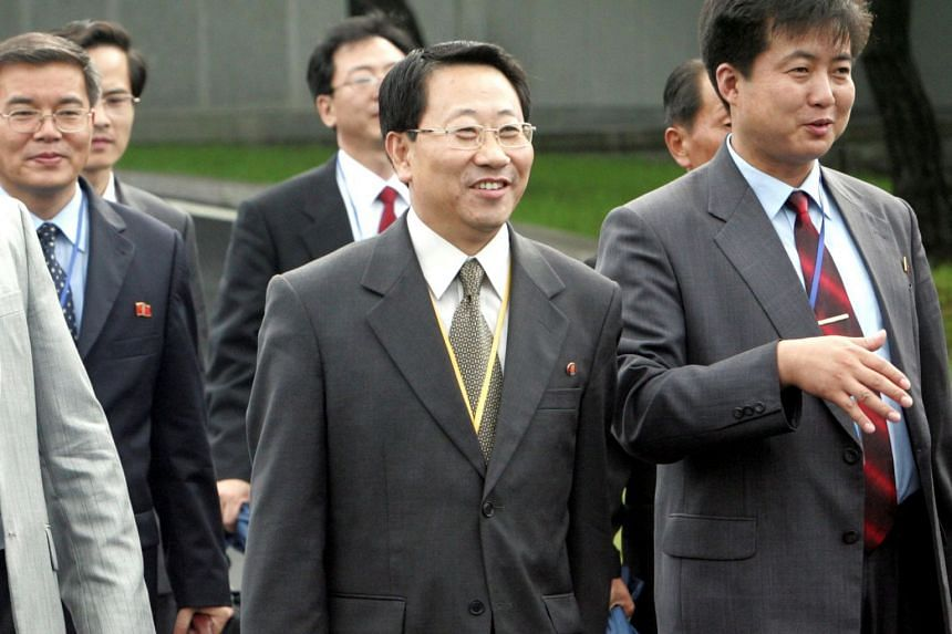 Kim Myong Gil, minister at North Korea's mission to the United Nations, leaves for North Korea with other North Korean officials after the second Economy and Energy Cooperation Working Group Meeting in South Korean territory at the truce village in P