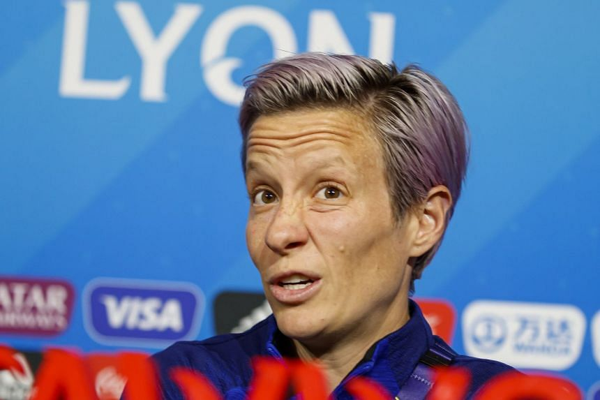 Rapinoe speaks during a press conference at the Stade de Lyon, July 6, 2019.