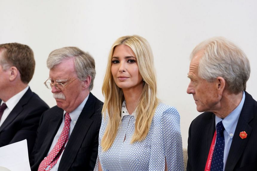 Ivanka Trump looks on as her father attends a bilateral meeting with India's Prime Minister Narendra Modi during the G-20 leaders summit in Osaka, Japan.