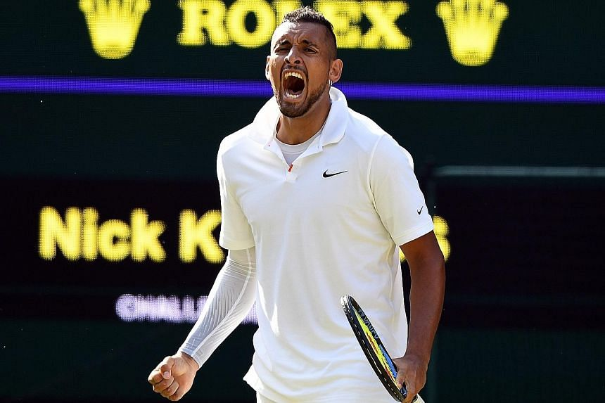 Nick Kyrgios picked up a code violation for unsportsmanlike behaviour during his loss to Rafael Nadal in a bad-tempered second-round match at Wimbledon on Thursday.