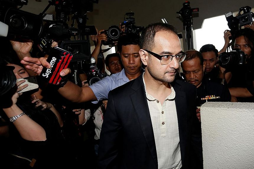 Former Malaysian premier Najib Razak's stepson Riza Aziz, who has been charged with money laundering, arriving at a court in Kuala Lumpur yesterday. He was arrested on Thursday. PHOTO: REUTERS