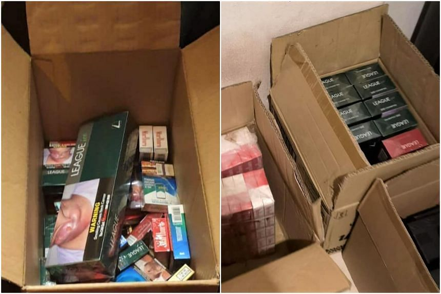 A total of 725 cigarette packs were seized from the man.