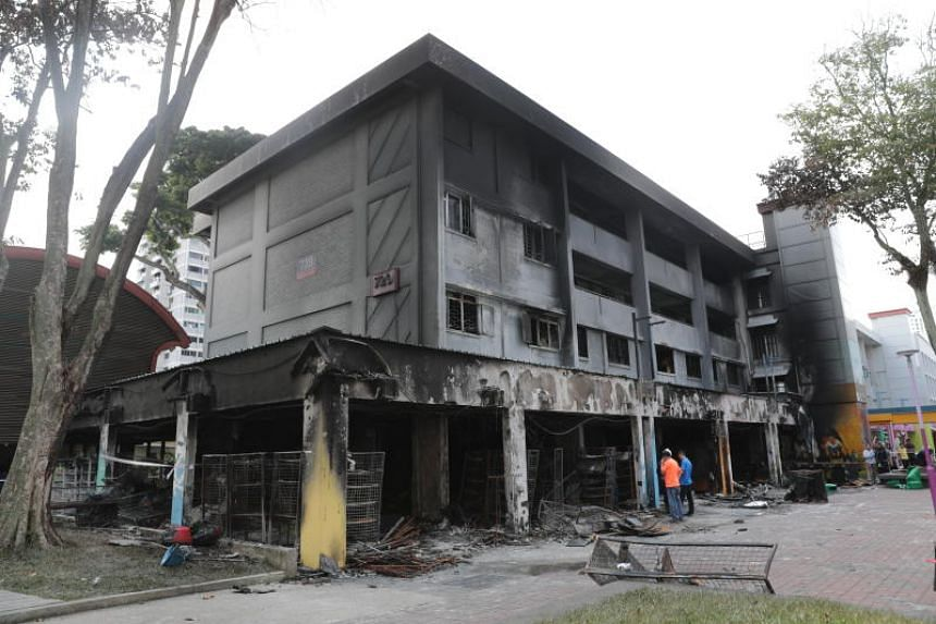 The aftermath of the fire at Block 720 Ang Mo Kio Avenue 6.