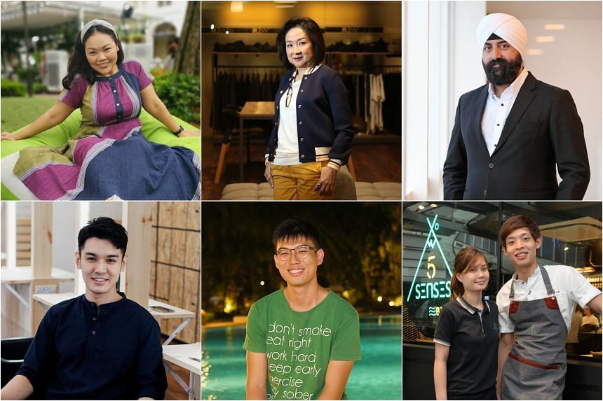 (Clockwise from top left) Siti Khalijah Zainal, 34, actress; Ms Esther Tay, in her 60s, fashion designer; Mr Kawal Pal Singh, 36, lawyer; Ms Alina Har, 27, and Mr Andrea Lim, 26, owners of 5 Senses Bistro; Mr Nicholas Chan, 23, medical student; and M