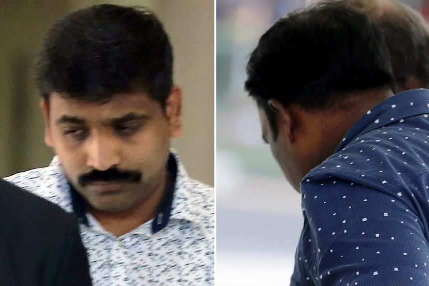 Kulamani Ganesan (left) and Manickavasagam Saravanan, both of whom worked for a jewellery shop in Little India, were fined a total of $13,500 for their part in the scam.