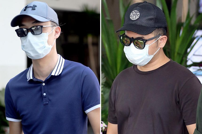 Tay Miow Seng (left), 40, and Ed Chen Junyuan, 37, are accused of flying unmanned devices at an open field near Block 128C Punggol Field at around 9pm on June 26 without a permit. The two men face a fine of up to $20,000 if convicted.