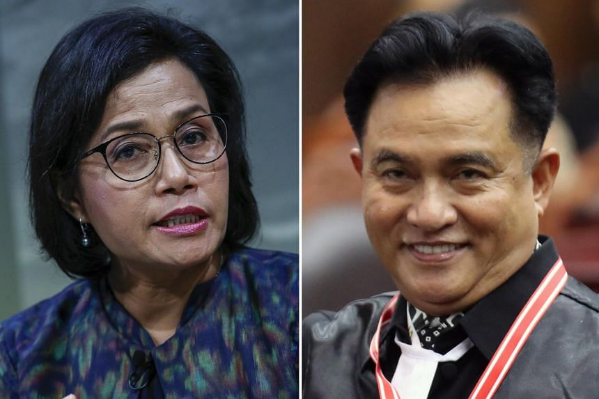 (Left) Finance Minister Sri Mulyani Indrawati is likely to be retained by Mr Joko in his new Cabinet while Professor Yusril Ihza Mahendra could be a possible new face.
