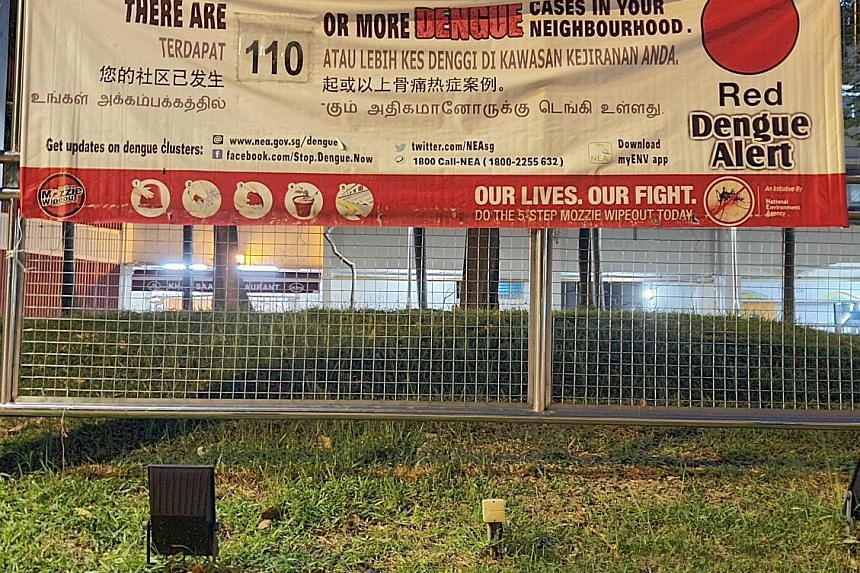 Banners like this warning about the dengue situation in the cluster were prominently displayed near Block 55 in Chai Chee Drive.